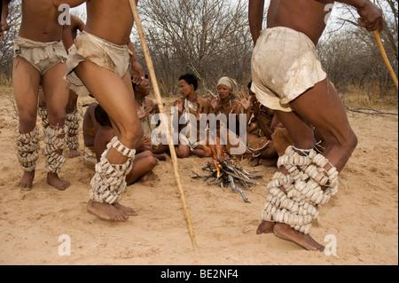 Naro bushman (San) dance, Central Kalahari, Botswana - Stock Image