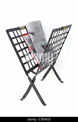 metallic magazine rack - Stock Image