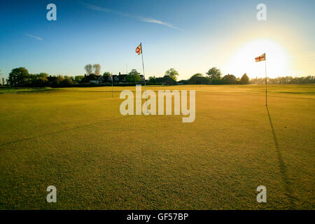 English flags on golf course Green - Stock Image