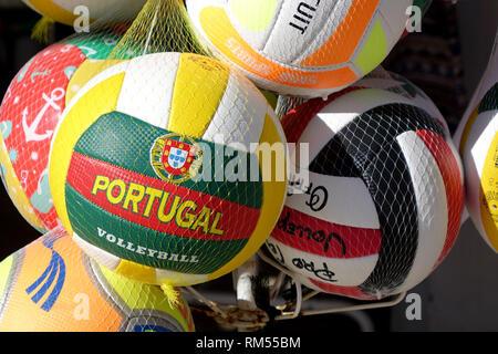 Souvenir Portugal Volleyballs For Sale In A Tourist Shop Near The Beach In Albufeira Algarve Portugal - Stock Image