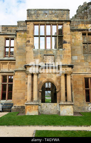 The porch of the 17th century extension to Belsay Castle, a 14th century peel tower, in Northumberland, England, UK - Stock Image