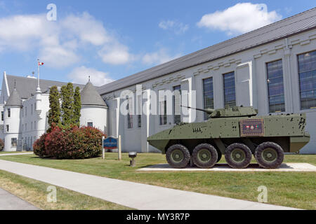 The 39 brigade LAV III monument honouring Canadian Armed Forces who served and died in Afgahanistan, Seaforth Armoury, Vancouver, BC, Canada - Stock Image