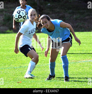 Girls High school soccer game, New Haven CT USA - Stock Image