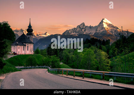 Scenic view on Maria Gern Church with Watzmann view Berchtesgaden Bavaria Alps Germany during sunset - Stock Image
