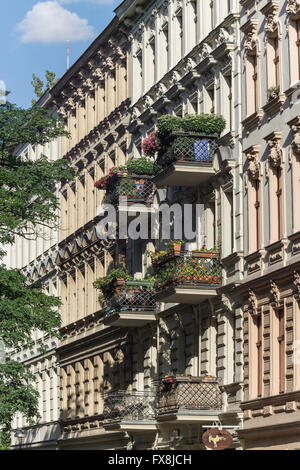 Facade, Wilhelminian Style , Architecture,  Seelingstrasse, Charlottenburg, Berlin - Stock Image