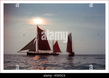 Traditional herring-fishing sailing boats ,part of fishing fleet,used to work off Isle of Man coast. - Stock Image