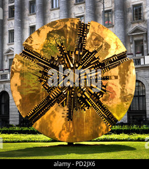 """It's called Il Grande Disco, the Great Disc, and sculpted by famed Italian artist Arnaldo Pomodoro.(The """"Solar Wheel"""" (""""Ruota Solare""""), located in Piazza Meda ) Milan, Italy, Italian. - Stock Image"""