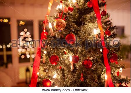 Magic Christmastree with bokeh - Stock Image