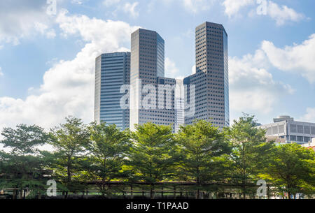 T1 T2 T3 office towers of Suntec City seen from Tan Quee Lan Field Singapore. - Stock Image
