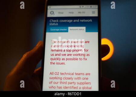 Hailsham, UK. 6th Dec 2018. Communications company O2 suffer a major outage today with customers unable to access data or make  calls. Credit: Ed Brown/Alamy Live News - Stock Image