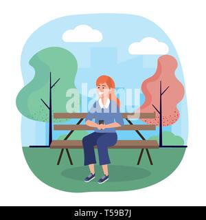 woman seating in the chair with smartphone technology vector illustration - Stock Image