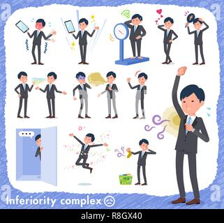 A set of businessman on inferiority complex.There are actions suffering from smell and appearance.It's vector art so it's easy to edit. - Stock Image