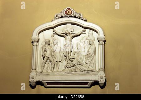 12th Stations of the Cross, Jesus dies on the cross , Notre Dame de Clignancourt church, Paris, France - Stock Image
