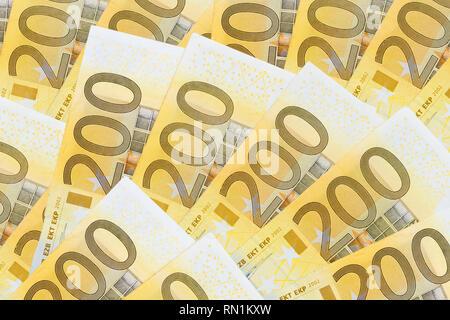 many two hundreds eurosbanknotes - Stock Image