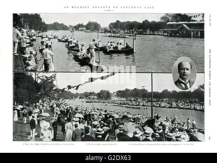 Molesey Regatta, 1905 magazine spread of the rowing races on the River Thames for the cream of Edwrdaian Society. - Stock Image