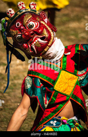 Traditional Buddhist Mask Dance at Jampey Lhakhang Drup (Festival), Jakar, Bumthang, Bhutan - Stock Image