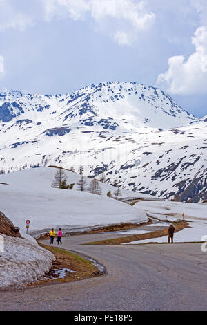 Pedestrians on road from summit of Simplon Pass to Ferienlager Kulm hotel from Hotel Simplon-Blick in early May.  Snow clad mountain in background - Stock Image