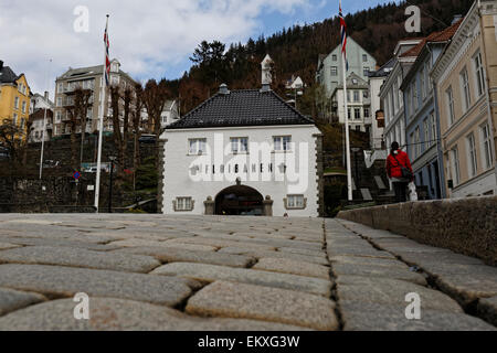 Entrance to the Fløyen tram, which brings you to the viewpoint Fløyen overlooking the city and harbour, - Stock Image