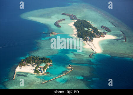 Maldives aerial - an aerial view of the Maldives islands, Maldives, Asia - Stock Image
