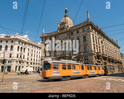 Horizontal streetview of Palazzo delle Assicurazioni Generali in Milan, Italy. - Stock Image