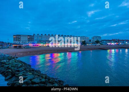 Seafront,at,Night,Amusement Arcades,Herne Bay,Kent,England,UK - Stock Image