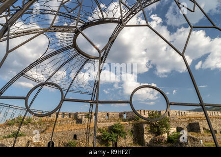 Gjirokasta Castle from the amphitheatre Albania - Stock Image
