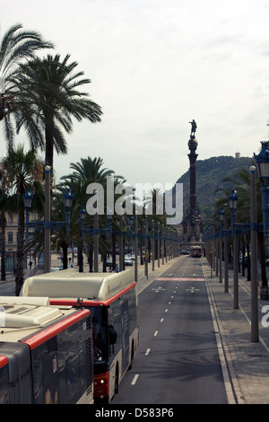 Buses on Passeig de Colom and Columbus Monument, Barcelona, Catalonia, Spain in the Ciutat Vella district - Stock Image