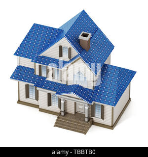 Luxury house covered with solar panels colllecting sunbeam. 3D illustration. - Stock Image