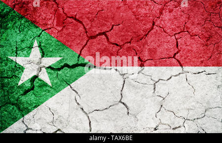 Trujillo State flag, state of Venezuela, on dry earth ground texture background - Stock Image