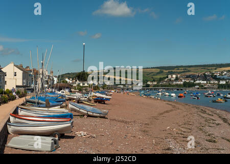 The Beach and Esplanade at Shaldon with it colourful boats, beside The River Teign Estuary, South Devon, England, - Stock Image