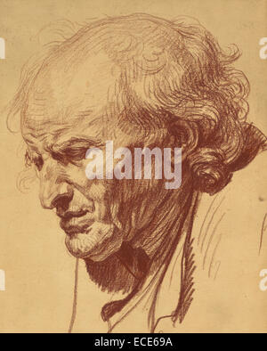 Head of an Old Man; Jean-Baptiste Greuze, French, 1725 - 1805; about 1755; Red chalk; 39.7 x 32.1 cm (15 5/8 x 12 - Stock Image