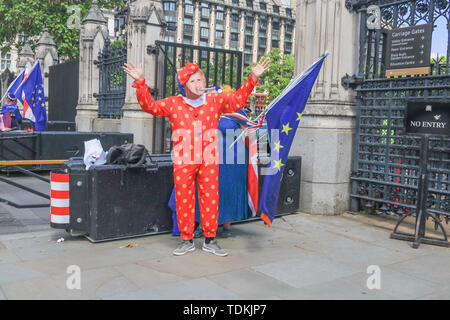London, UK. 17th June, 2019. A Pro Europe protesters dressed as a clown with a Boris Johnson Mask. Boris Johnson is the frontrunner and tipped to win the second ballot for the Conservative Party leadership which takes place on Tuesday with six contenders left Credit: amer ghazzal/Alamy Live News - Stock Image