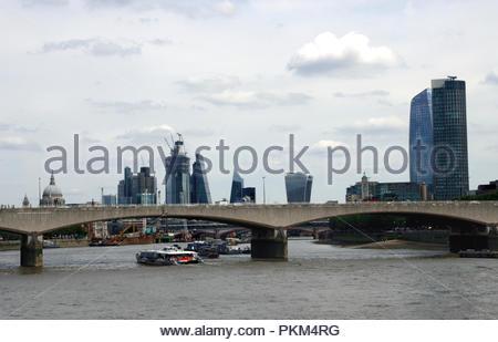 Waterloo Bridge and London Skyline August 2018 - Stock Image