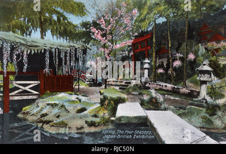 Spring - Four Seasons - The Japan-British Exhibition of 1910 took place at White City, London in Great Britain from 14 May 1910 to 29 October 1910. - Stock Image