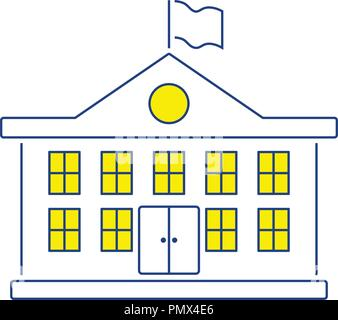 Icon of School building. Thin line design. Vector illustration. - Stock Image