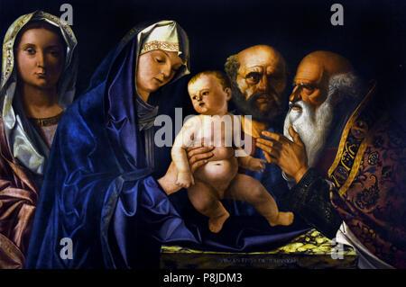 La Presentazione di Gesù al tempio - The Presentation of Jesus at the temple by Vincenzo da treviso 1488-1543 ( Dalle Destre ) Treviso Italy, Italian. - Stock Image