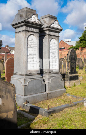 Liverpool Deane Road Cemetery 1837 gravestones Bertha died 1896 & died 1885 David Lewis died 1885 founder Lewis & Bon Marche department stores - Stock Image