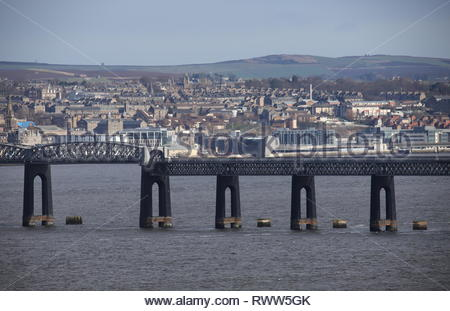 V&A Design Museum, Dundee waterfront and Tay Rail Bridge Scotland  March 2019 - Stock Image