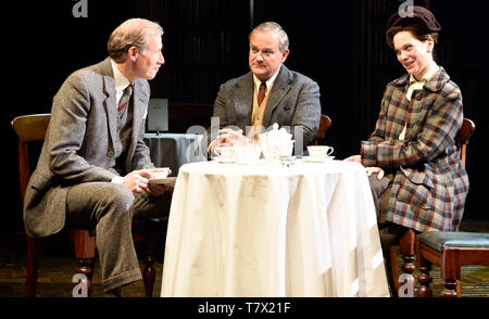 Left to right: Andrew Havill as Warnie, Hugh Bonneville as C.S. Lewis & Liz White as Joy Gresham in Shadowlands by William Nicholson at Chichester... - Stock Image