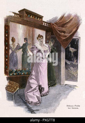 A lady tries on a dress at Gerson's department store, Berlin       Date: circa 1895 - Stock Image