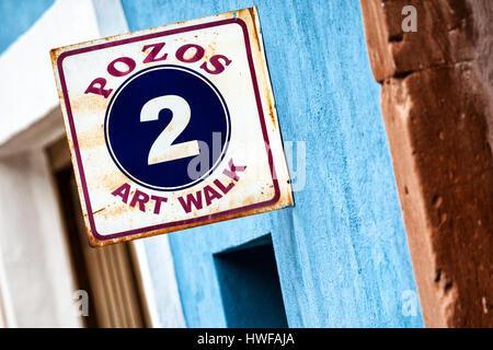 Art walk sign in Mineral de Pozos, Guanajuato, Mexico. - Stock Image