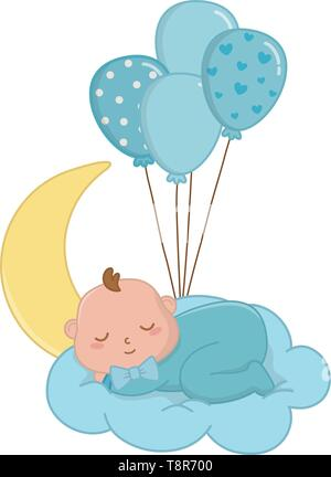baby sleeping over a cloud with moon hanging from a balloons vector illustration graphic design - Stock Image