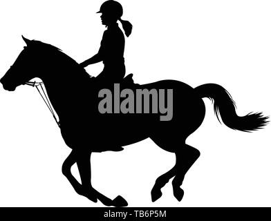 young woman riding a horse silhouette - vector - Stock Image
