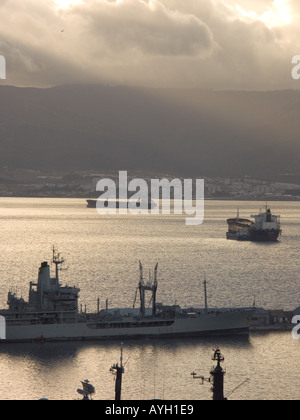 Dusk over the Bay of Gibraltar, shipyard shipyards sunset sunsets dusk evening nightfall  Gibraltar Harbour , Gibraltar Shipyard - Stock Image