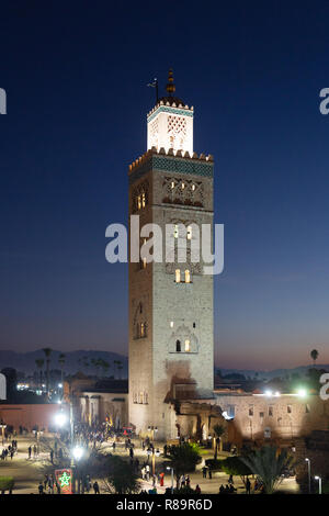 Koutoubia Mosque Marrakech Morocco, lit up at night, Marrakesh Morocco North Africa - Stock Image