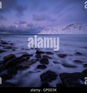 Winter at Skagsanden beach, Flakstadøy, Lofoten Islands, Norway - Stock Image