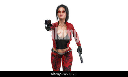 Action girl shooting guns, woman in red leather suit with hand weapons running on white background, front view, 3D rendering - Stock Image