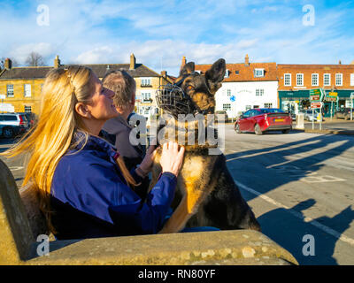 A woman dog lover with her young Alsatian or German Shepherd dog, fitted with a wire muzzle up on her knee - Stock Image