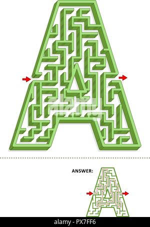 Learning alphabet activity - letter A three-dimensional maze. Use it as is or add fun cartoon characters. Answer included. - Stock Image