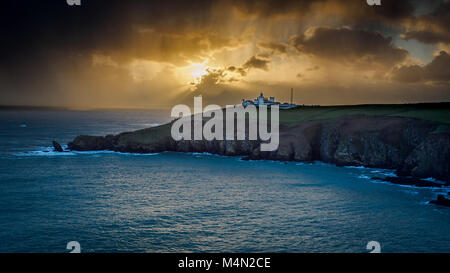 Lizard Lighthouse at sunset Lizard Peninsula Cornwall The distinctive twin towers mark the most southerly point - Stock Image